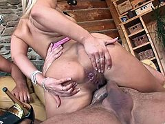 Gorgeous blonde porn star with huge tits enjoying a hardcore MMF threesome
