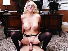 Johnny Sins makes his rock solid ram rod disappear in super sexy Courtney Taylors mouth