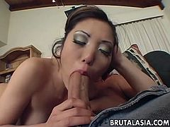 Big bottomed chick Kaiya Lynn gives deepthroat blowjob to horny bald headed dude