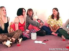 Nasty college babes playing truth or dare for hot sex