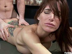 At Dungeon Sex we like to break the sluts self esteem, before giving them a good, hard fuck. Today's special star is miss Gia and damn, she has a nice body that needs a tenderizing. After Gia was hanged upside down and made to masturbate, she was laid with her perfect ass up and roughly fucked! Want more?