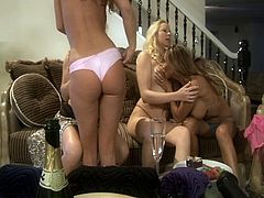 Extreme hardcore Sex-Foursome nice looking lesbians toying pussy to each other in this video.