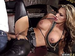 Danny D stretches hot blooded Esperanza Gomezs mouth with his stiff dick to the limit