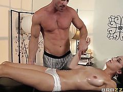 Johnny Sins is horny as hell and cant wait any longer to pound delicious Victoria Rae Blacks mouth