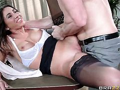Chachita Stephani Moretti with huge knockers is the one hard dicked guy Johnny Sins loves to fuck