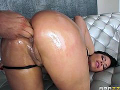 She is all lubed up and her ass is nice and wet. She is ready for him to stick his fingers deep into her butthole. Aleksa reaches between her legs and grabs his hard cock, as he is playing with her bumhole. Look at her rub herself.