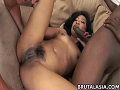 Seductive exotic chick Lyla Lei enjoys two men fucking her at once