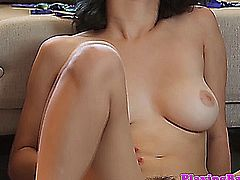 Busty solo latina fingers her hairy bush