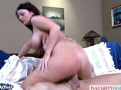Busty brunette Sophie Dee gets banged very hard