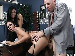 Johnny Sins cant wait any longer to stuff his tool in perfect bodied Raven Bays mouth