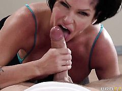Shay Fox offers her fuckable mouth to hard cocked Keiran Lee before she takes it in her ass way