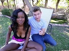 A horny guy brings his attractive ebony girlfriend in the park. If you wanna see those big wonderful tits balancing up and down, as the dynamic babe jumps higher, click and enjoy the details. After so much effort, the couple goes to rest on the grass. See the brunette sucking her lover's cock with intensity!