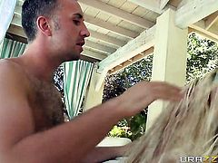 Loni Evans with huge melons gets her mouth attacked by Keiran Lees erect boner