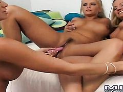 Blonde Lisa Daniels with juicy knockers and hairless twat touches her neat twat after posing naked