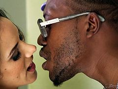 Her husbands's white cock is not good enough for this Latina hottie. She wants black cock and she wants to humiliate her husband. He is s cuckold and he must watch, as his wife sucks on a big black penis. She rides the black cock, too. The husband must look at it all.