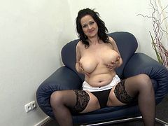 Are you interested in mature hot ladies, who love the cameras and showing off their naked bodies? Slutty Dominika gets rid of her bra and panties with sensual slow movements... Her big tits look so appetizing! Watch the bitchy brunette on high heels, opening widely her legs, to finger her lusty pussy.