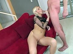 This is a naughty fuck and blowjob scene with a horny blonde hottie sucking a huge cock for a hot blowjob and gets nailed hardcore.
