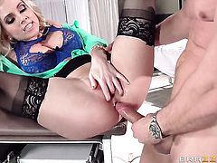 Mick Blue stuffs his dick in gorgeous Christie Stevenss mouth after anal sex