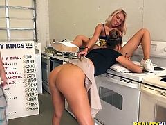 Money talks for this blonde hottie, and she will do anything for them. Sit back, relax and enjoy what we prepared for you over here. The blonde has a to do list, from simple things like making out with a girl, to more dirty and serious action. For each task she gets paid, how low will she go for cash?