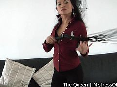 The queen is so mean and domineering, that you can't escape from her. Her presence is alluring and she is in control of you. She has her whip out and she is going to use it on you. Do you want to be whipped by her?