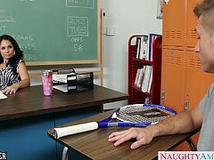 Big jugged brunette teacher Holly West gives blowjob and fucks a big young prick in classroom