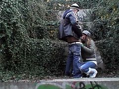 Horny Emily in Jeans gets wild giving Handjob Blowjob and Titjob as she is drilled Doggystyle in Outdoor Public Clothed Sex