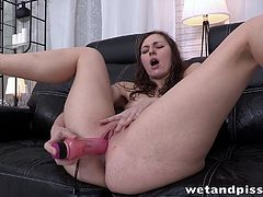 Visit official Wet And Pissy's HomepageSlutty Ariadna starts pissing while cracking her shaved twat with toys, providing top solo action in filthy manners