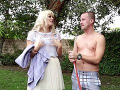 Mommy Holly is a beauty! Long blonde hair, big breasts and a pretty face, that makes you wish to cum all over it again and again. She's feeling horny today and has her mind set on this boy, that's working in her backyard. Holly craves for him, so she ends up swallowing his dick and feeding him with pussy