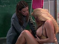 Lesbians Teachers in Bras removes her partner Panties and touches her Hot Ass then inserts her pussy as they have fun in Class