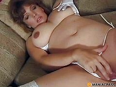 Fat woman stroking her pussy