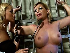 Blonde hoochie Pamela with giant jugs and Kathia Nobili spend their sexual energy together
