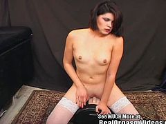 Becky is an erotic fetish model.  She told Dirty D that she loves to please herself with sex toys. Dirty D knows that the sybian is sure to put a smile on her face. Becky strips out of her polka dotted bra and panties showing off her pierced nipples and smoothly shaved pussy.