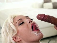 Visit official 1000 Facials's HomepageAstounding Jenna Ivory provides astounding blowjob on a juicy dong and gets splashed with warm jizz in the end of her filthy show