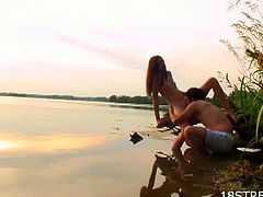 Trimmed tight pussy blonde babe loves riding cock while watch sunset.See how these two lovers enjoys hot fucking by the lake side.Her boyfriend shoves his hard cock deeply in her for maximum fuck pleasure.
