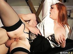 Tarra White with gigantic breasts lets Danny D put his worm in her mouth after she gets cornholded