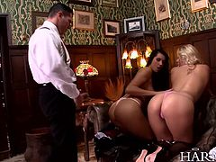Blonde stunner Shay Hendrix gives Melissa Ria some lessons in sex in a hot and steamy lesbian scene. The head teacher soon joins in on the fun, filling their tight pussies with his pulsating cock.