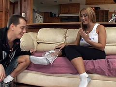 Young man gets horny while massaging milf's feet