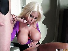 Bridgette B with massive melons gets slammed by Johnny Sins the way she loves it