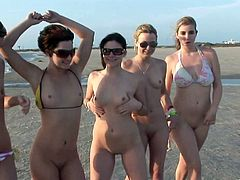 Amazing Models with natural Tits in Bikini and Glasses are in the Yacht as they removes their panties and Bra shake their their Hot Asses in Public