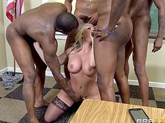 blonde teacher gets nude in classroom