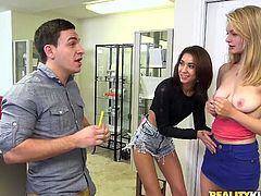 The best way to earn money, is to have a man give it to you. These two sexy girls know that. That's why they don't waste a lot of time bargaining and jump at the first offer, that the hot dude gives them. Watch the two girls please the one man they like and make him happy, by going down on him, and making him erect enough, to slide the dick into their vaginas.