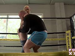 The very sexy Mira loves getting manhandled in the middle of the ring, at her gym, after hours.