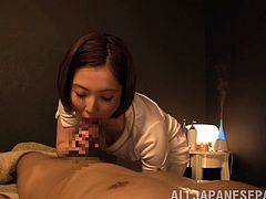 Hot Japanese doll is giving head so well-you'll want more
