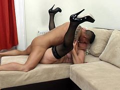 If you have an interest in mature versed women, see slutty Juliene getting banged on the couch by an younger partner. The horny lady with short hair is encouraged to spread widely her legs. See her aroused, when her pussy's eaten with a flaming desire. Fucking the old bitch from behind is an allowed pleasure!