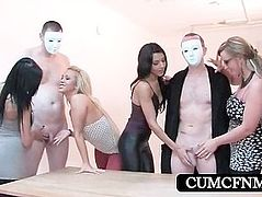 CFNM sexparty with multiple handjobs
