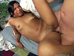 Pigtailed Teen with Hot Ass gives Blowjob and Ball Licking and yells s her tight Shaved Pussy is Drilled Doggystyle and Cum In Her Mouth