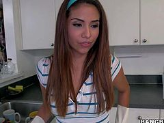Isabella Taylor is one ease sexy chick. She takes off her skinny blue jeans and then displays her hot ass without taking off her lace blue panties. Watch sweet sexy maid Isabella Taylor strip