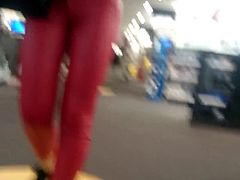 Candid tight ass teen in red leather pants!