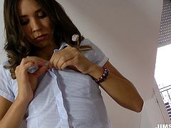 British beauty enjoys a throbbing rod in a doggystyle