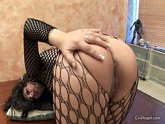 Voracious bitch in fishnet stuff warms up with toy and gives nice blowjob